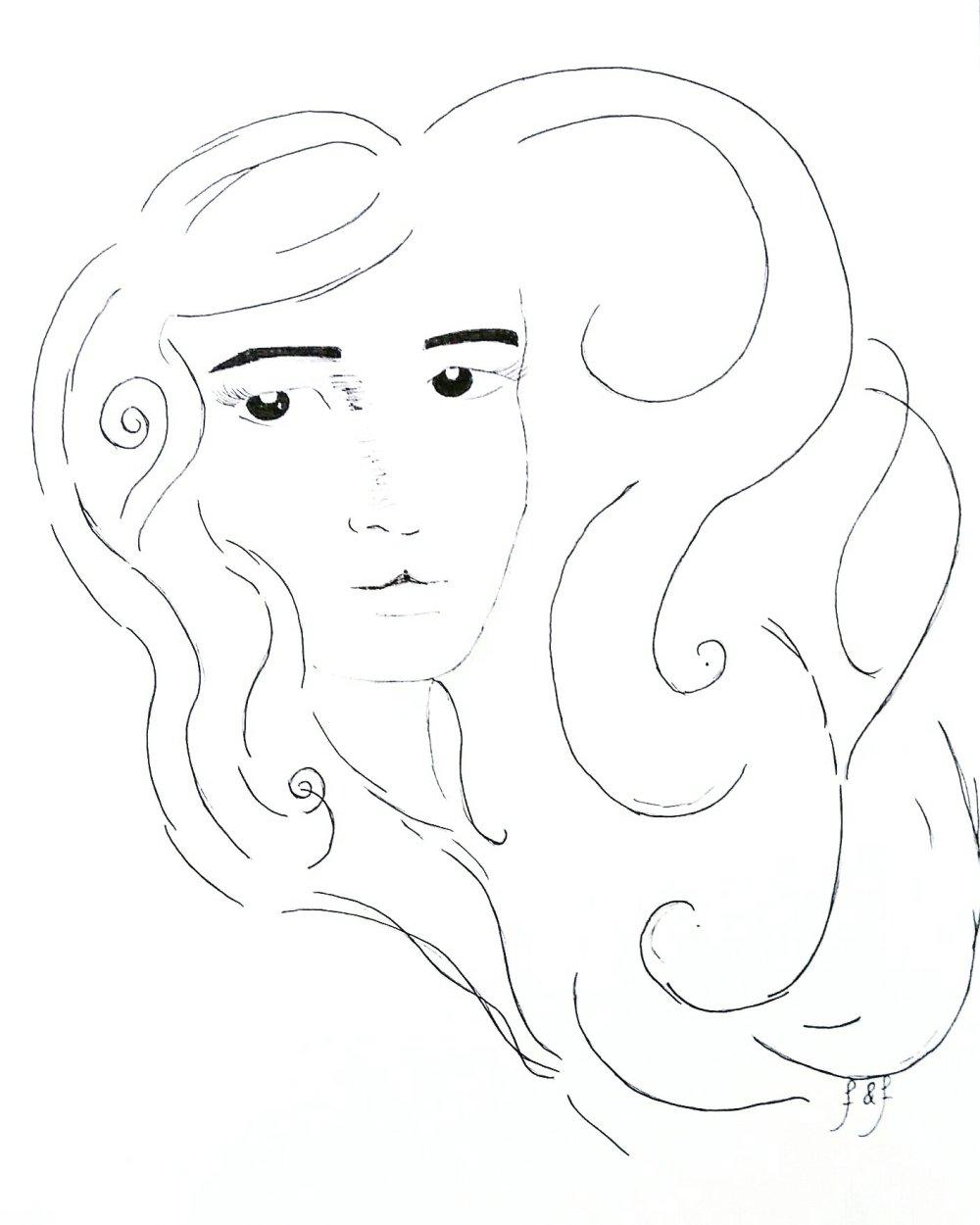 Illustration, art, drawing, self-portrait, fairytales & fireflies